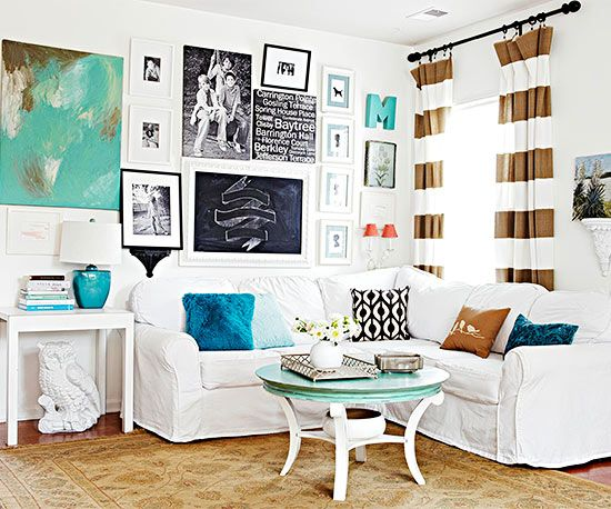 A Fresh Space Thrifty DIY updates and personal touches give this rental home a refresh that looks anything but temporary. Instead of buying new furniture, clean, white slipcovers give the old couch a new look. Family art covers the walls, an easy idea for giving both color and personality to a white backdrop.