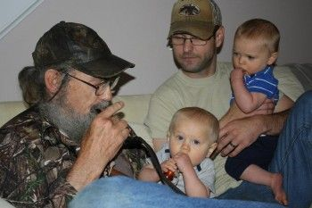 Si Robertson with son Scott and his grandsons. Scott is in the Army