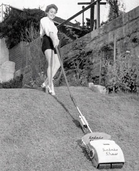 1960s lawnmower, ideal for those who mow in high heels.