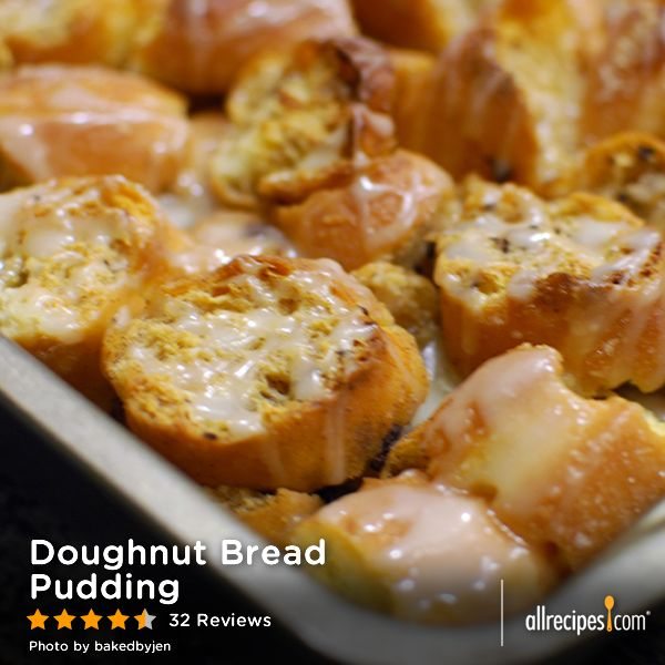 "Doughnut Bread Pudding | ""I made this with some leftover Krispy Kremes ..."