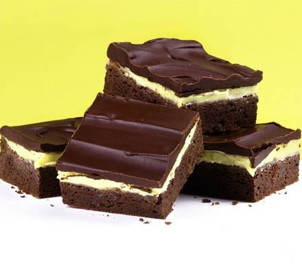 Grasshopper squares :- mint & brownie layered bars :- no grasshoppers ...