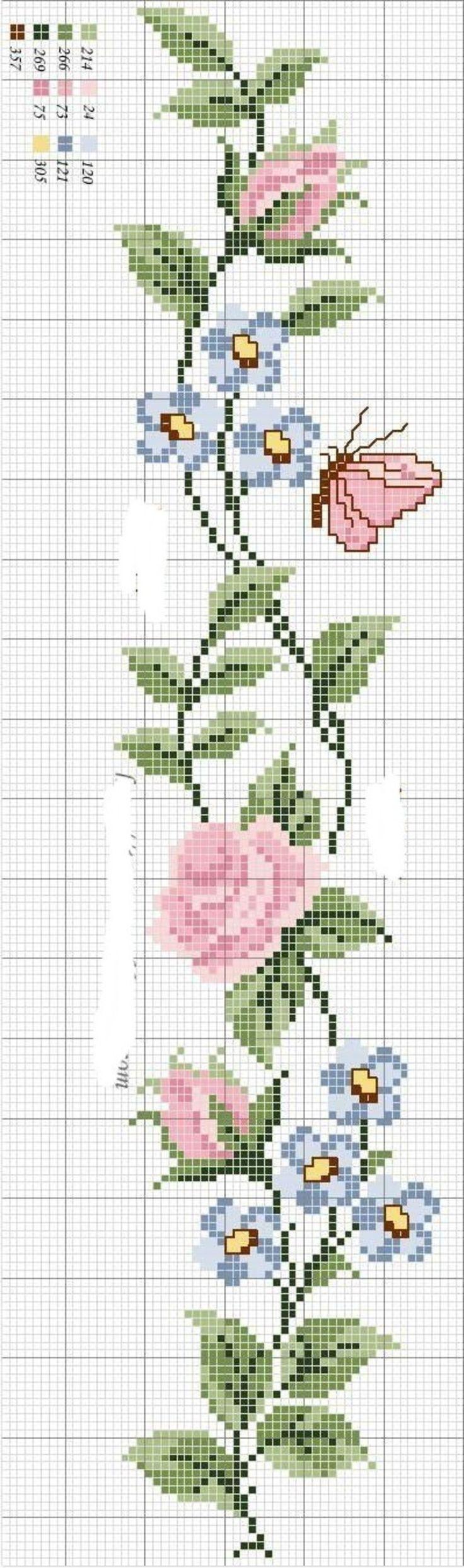 Схема вышивка крестом цветы вертикально