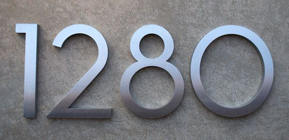 Modern house numbers modern font recycled aluminum set of 4 numbers 8