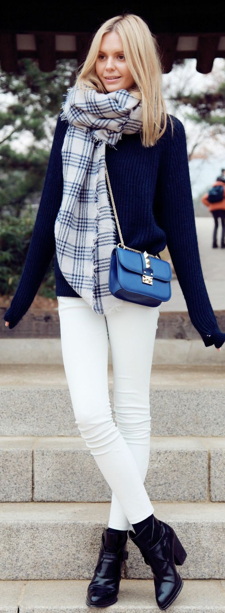 winter autumn white pants leggings boots black shoulder bag blue blond girl scarf sweater pullover style apparel women clothing outfit fashion