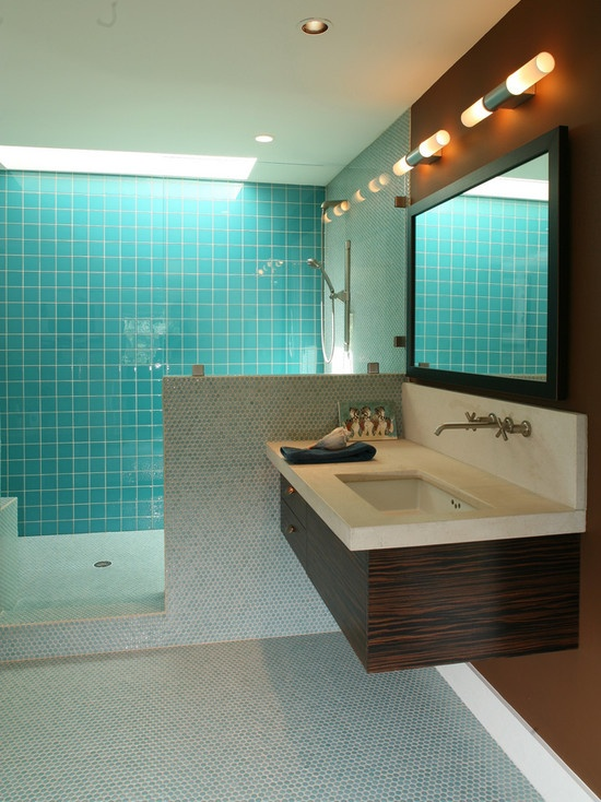 Turquoise tile bathrooms pinterest - Turquoise bathroom floor tiles ...