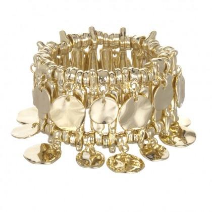 Charm & Chain | Gold Coin Stretch Bracelet - Bracelets - Jewelry