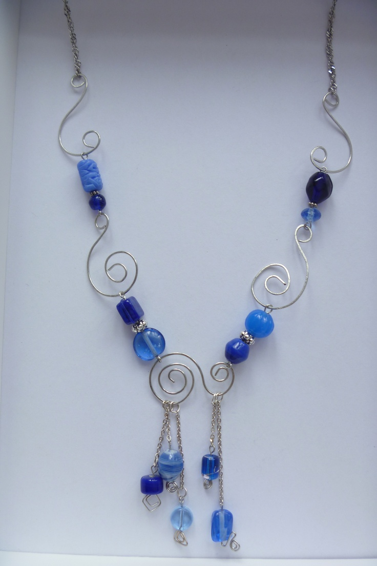 wire and blue bead necklace design wire bead jewellery