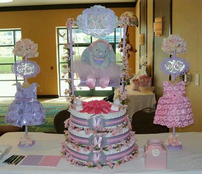 ballerina theme baby shower diaper cake babyshower pinterest