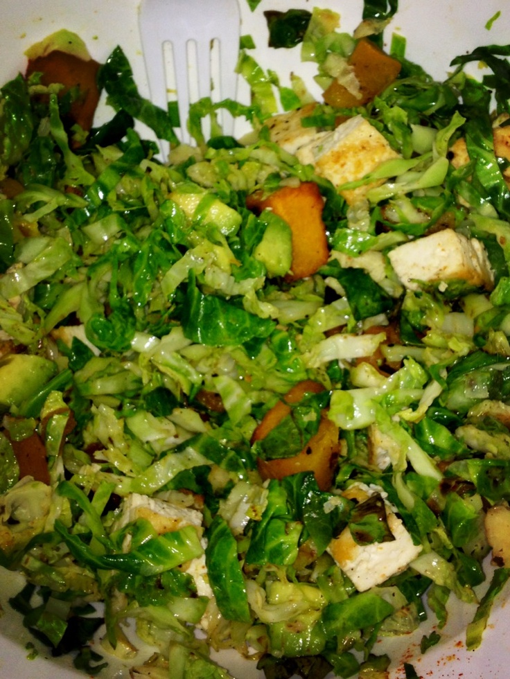 vegan brussel sprout salad with roasted butternut squash, tofu, and ...