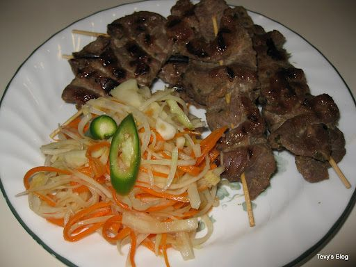 Grilled Lemongrass Beef Skewers ( Sach Ko Ang Jakak) ... Do this but ...