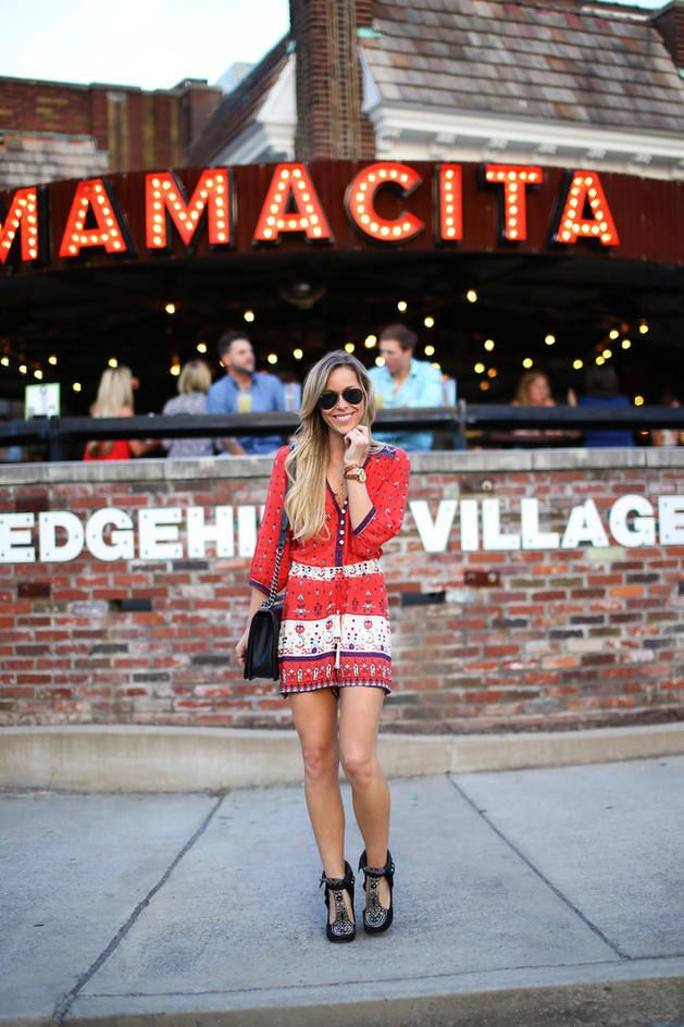 Red And White Printed Romper
