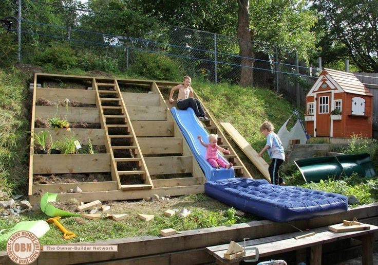 Backyard Hill Slide : hill into a garden, and there?s even a spot to place the slide