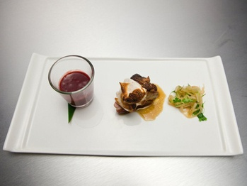 Sautéed Duck Breast & Foie Gras with Marshmallow, Daikon-Ginger Salad ...