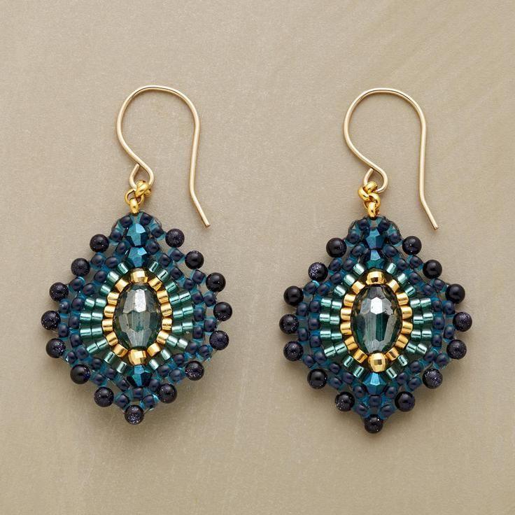 blue plume earrings koraliki beading