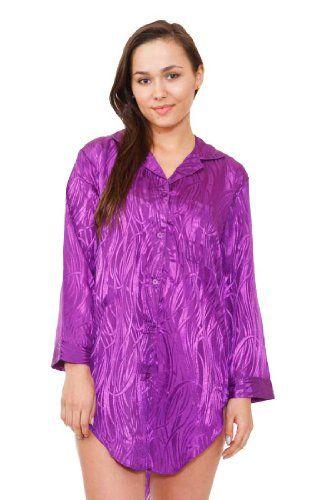 Womens Purple Satin Nightshirt
