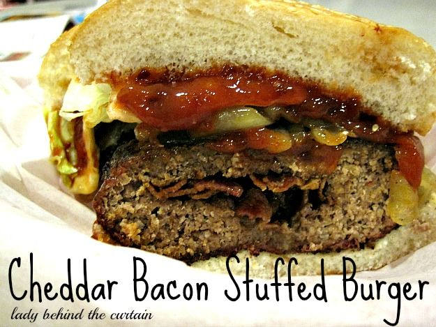 Cheddar-Bacon-Stuffed Burger with Chipotle Ketcup