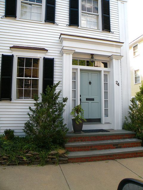 Want my front door this color blue white house exterior blue door