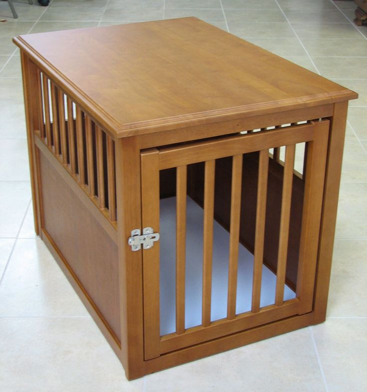 Crown eco friendly wooden pet crate end table dog den for Wooden crate end table