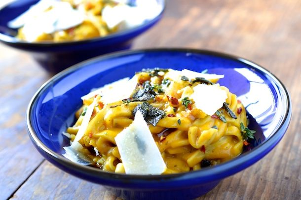 Butternut squash carbonara with crispy sage & brown butter