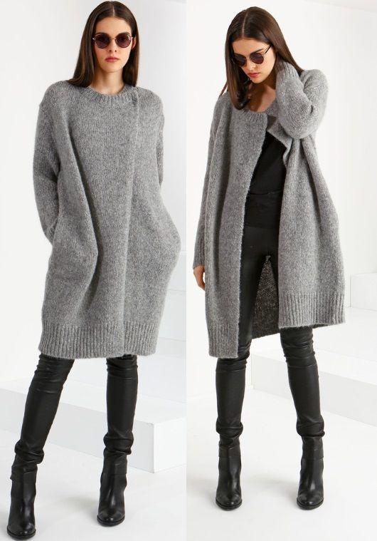 Модное пальто спицами со схемами