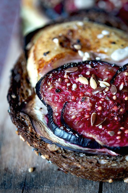 black bread, olive oil, honey, goat cheese, figs