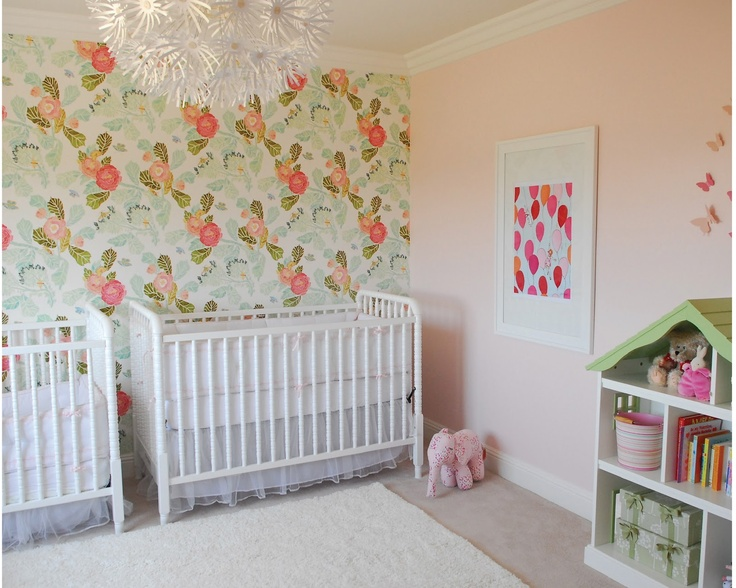 my wallpaper from anthropology baby nursery pink or blue