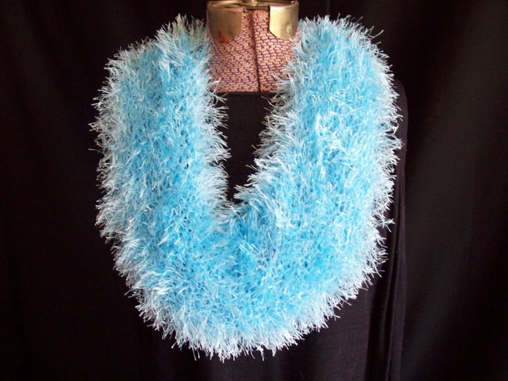 Knitting Pattern For Fun Fur Scarf : Pale blue fun fur knitted cowl scarf crafts Pinterest