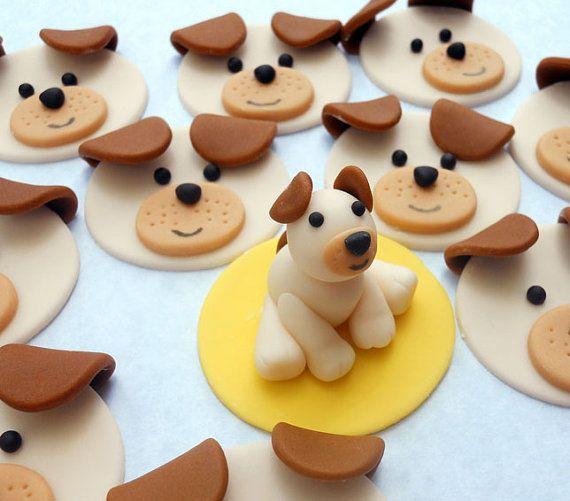 Edible Dog Cake Decoration : DOG SET Edible Cupcake Toppers - One dozen PLUS 3D figure