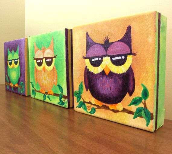 Original painting 3 whimsical owls set of three 6x6x1 5 for Set of three canvas paintings