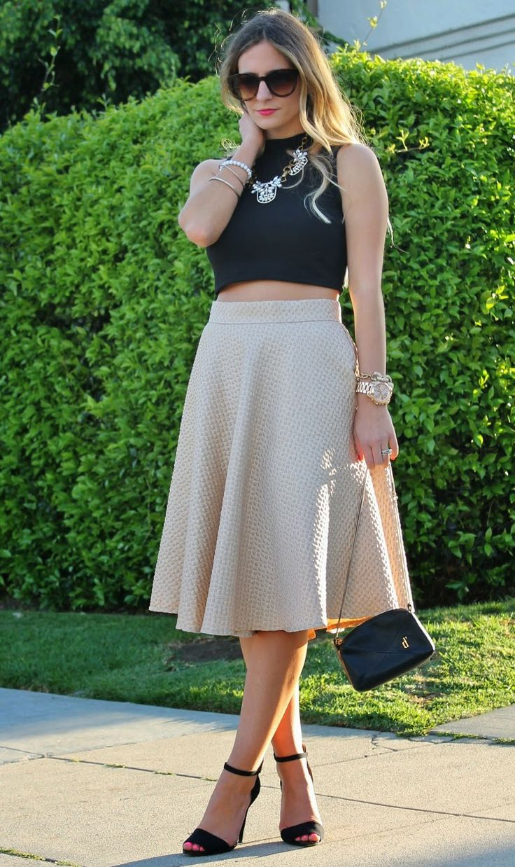 crop top with midi skirt outfit wedding guest pinterest