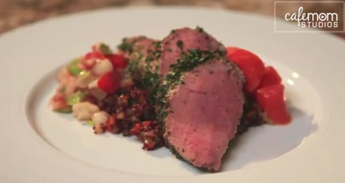 Herb-Crusted Pork Tenderloin With Quinoa & Fennel Pilaf, Glazed Carro ...