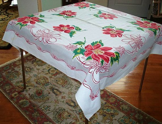 Square tablecloth red floral christmas table cloth vintage tablecl