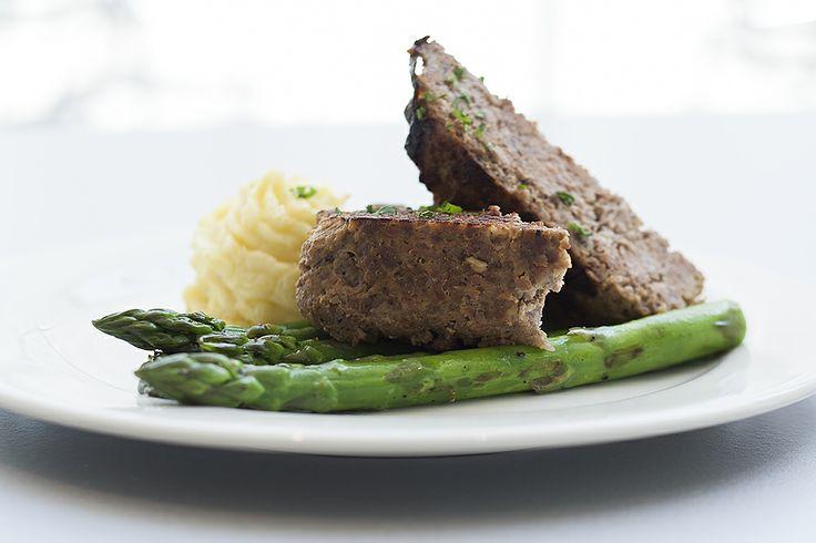 Crocker Café's Secret Recipe!  Grilled Lucky Dog Beef Meatloaf                                                    potato duchesse and roasted Delta asparagus