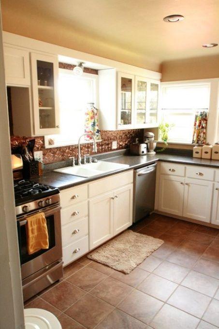 copper backsplash farmhouse kitchens pinterest