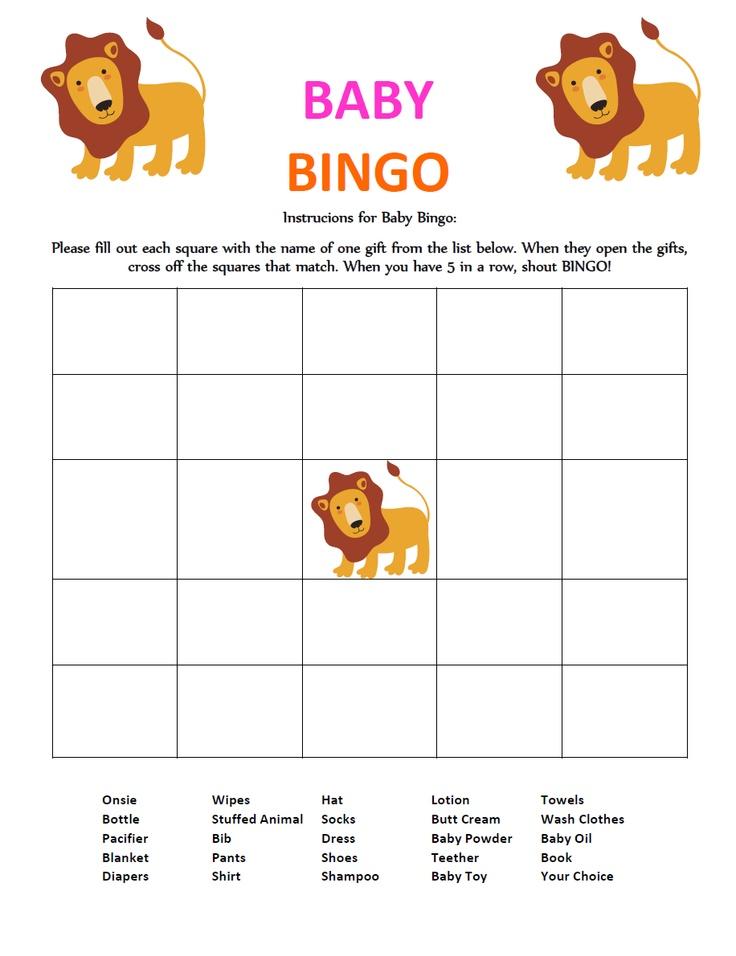 Baby Gift Bingo : Lion themed quot baby bingo shower gift game