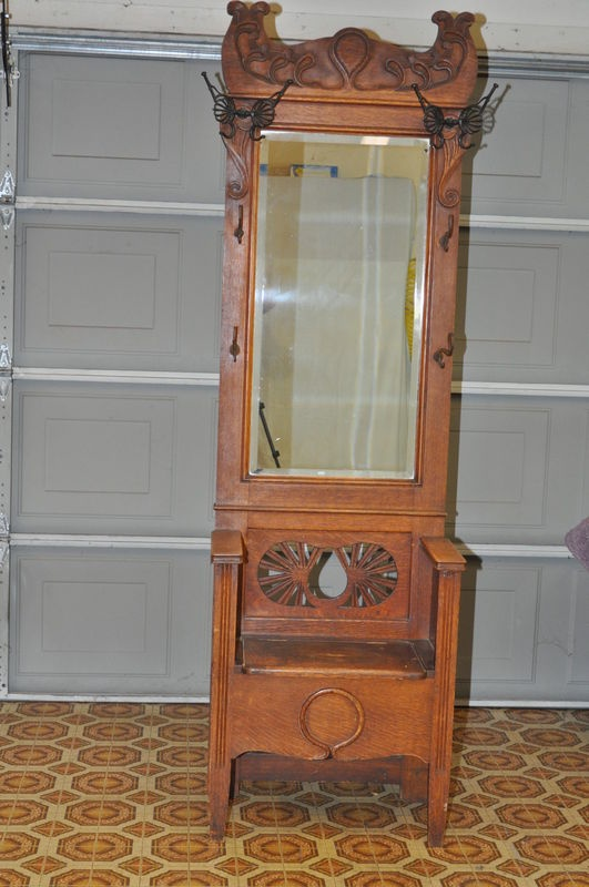 Antique Oak Entry Hall Tree With Storage Bench Beveled Mirror But
