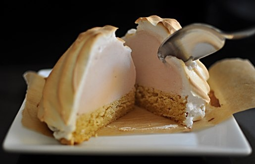 Baked Alaska: White Nectarine Ice Cream with Brown Butter Pound Cake