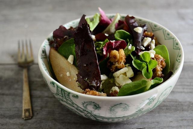 Spring Greens with Pears, Sugared Walnuts & Gorgonzola | Recipe