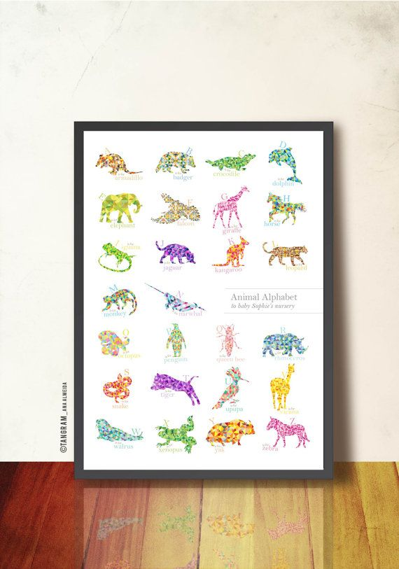 Geometric nursery prints : Animals geometric art print