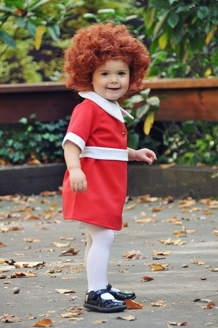 "Little Orphan Annie Halloween costume...oh my goodness.  This makes me want to burst into ""the sun will come out tomorrow...""  annie was a huge part of my childhood :). For emmie next year?"