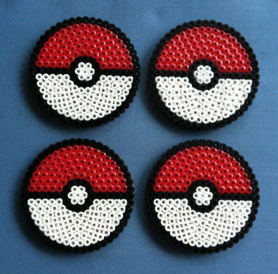 Pokemon pokeball perler bead coasters geek set by porcupinespines 15