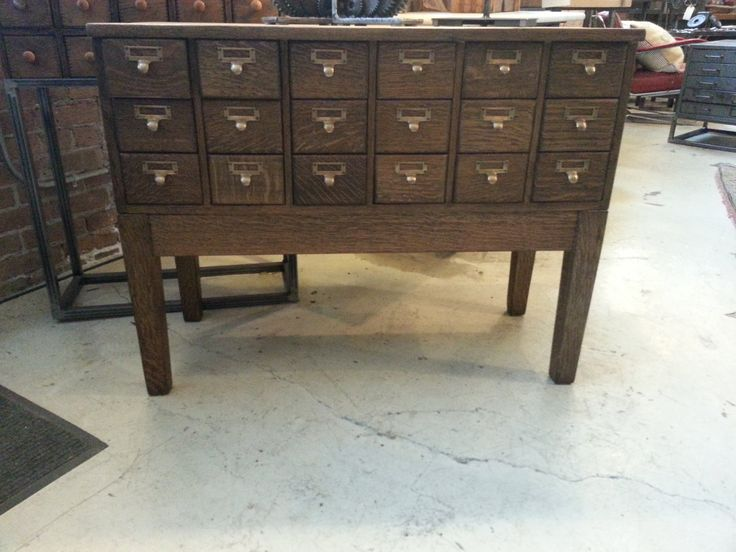 Vintage oak card catalog sofa table or wine storage cabinet for Sofa table cabinet