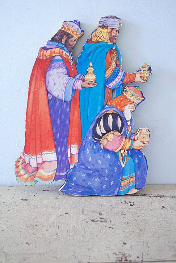 Wise Men Nativity Scene - Paper on Wood