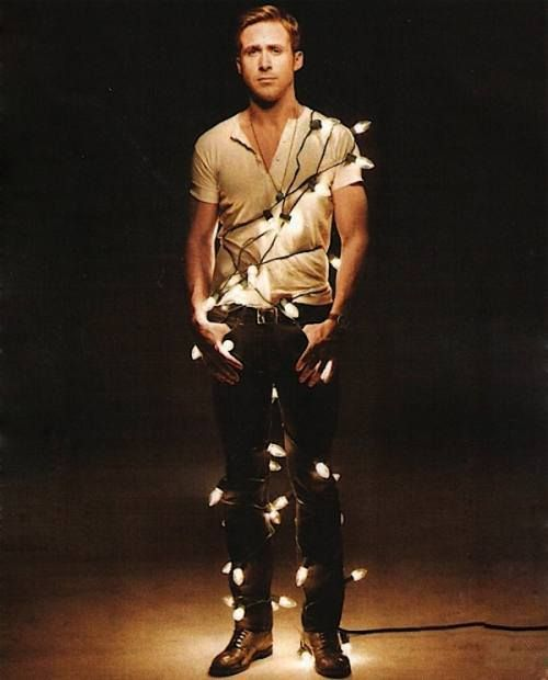 ryan gosling in christmas lights... yes please. nearly put this on my 'i want to eat this board' hahaaaa!