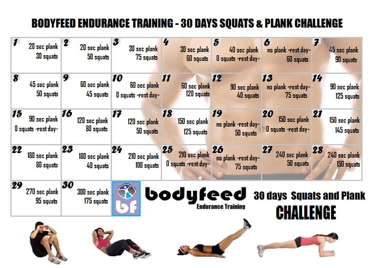 30 plank and squats challenge | Endurance Training | Pinterest