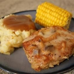 ... PORK CHOPS, BREADED AND BAKED, AND SERVED WITH AN EASY WHITE WINE AND