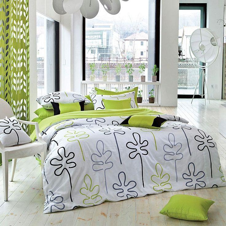 Guest bed 1100tc modern lime green black leaf duvet for Black and lime green bedroom ideas