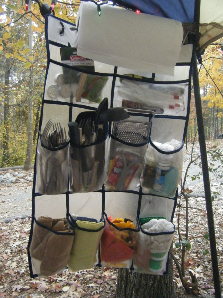 Camp Kitchen Organizer made from a shoe bag. Keeps everything you need at eye level!