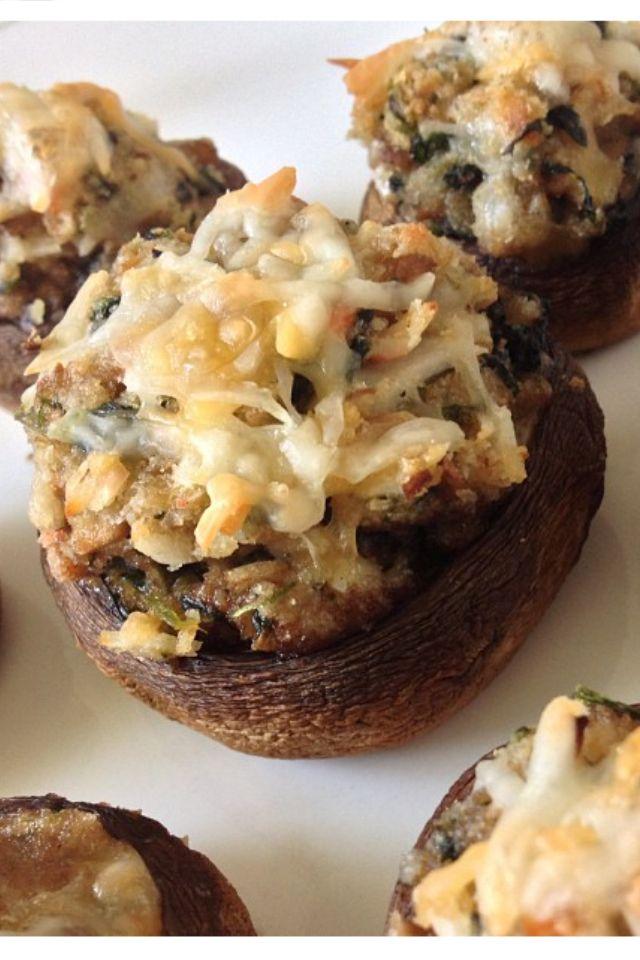 crab stuffed mushroom caps portabella mushrooms shredded cheddar cream ...