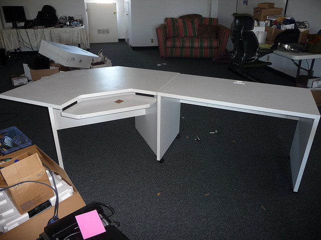 white office desk with keyboard tray $75 | Glass Office Desk | Pinter